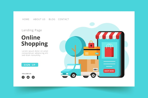 Modèle de magasinage en ligne de page de destination