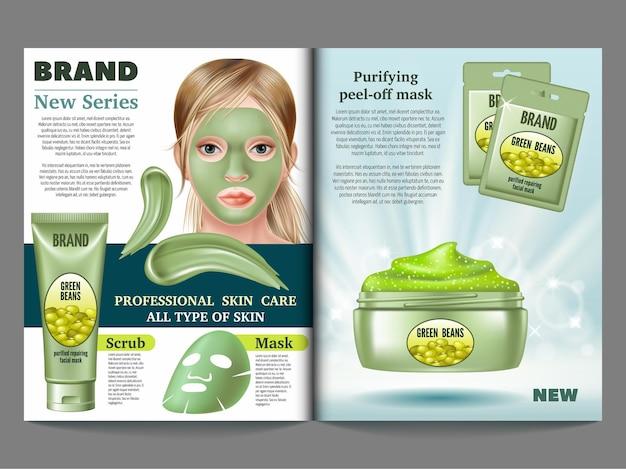 Modèle de magazine de cosmétique.