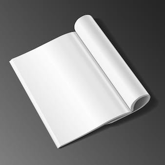 Modèle de magazine ouvert vide sur fond blanc avec illustration des ombres douces.