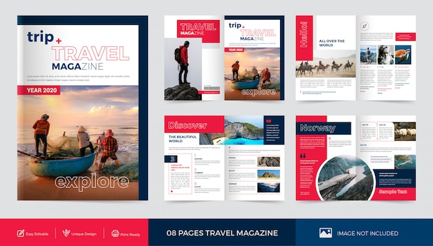 Modèle de magazine de voyage