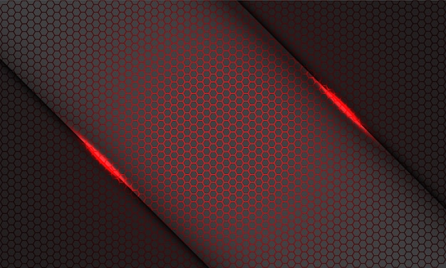 Modèle de maille hexagonale rouge abstraite slash léger sur gris sur fond gris technologie futuriste moderne