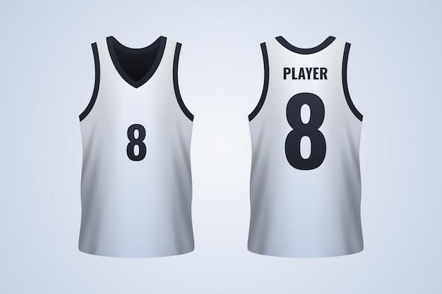Modèle de maillot de basketball blanc devant et derrière