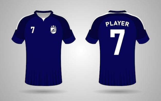 Modèle de maillot de football bleu foncé