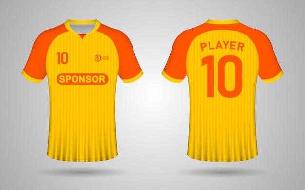 Modèle de maillot de football jaune et orange