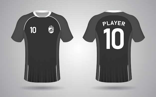 Modèle de maillot de football noir à manches courtes