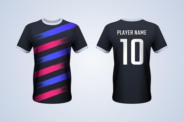 Modèle de maillot de football noir avec des rayures rouges et bleues