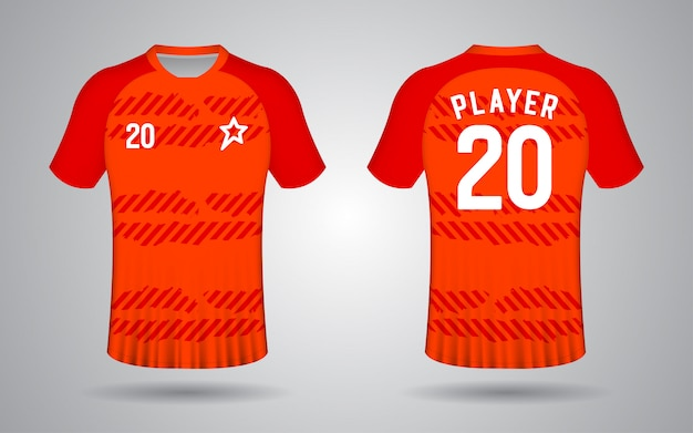 Modèle de maillot de football orange à manches courtes