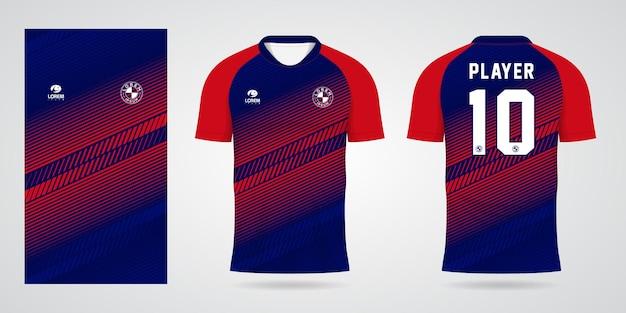 Modèle de maillot de sport bleu rouge pour les uniformes d'équipe et la conception de t-shirt de football