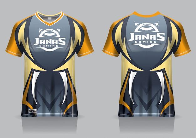 Modèle de maillot de t-shirt de jeu esport, vue avant et arrière uniforme