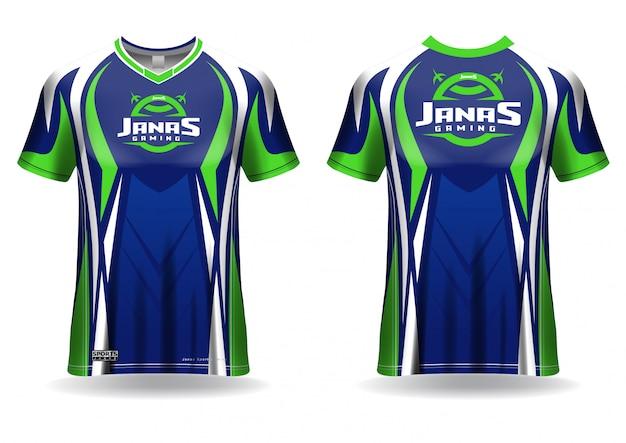 Modèle de maillot de t-shirt de jeu esport, vue uniforme, avant et arrière