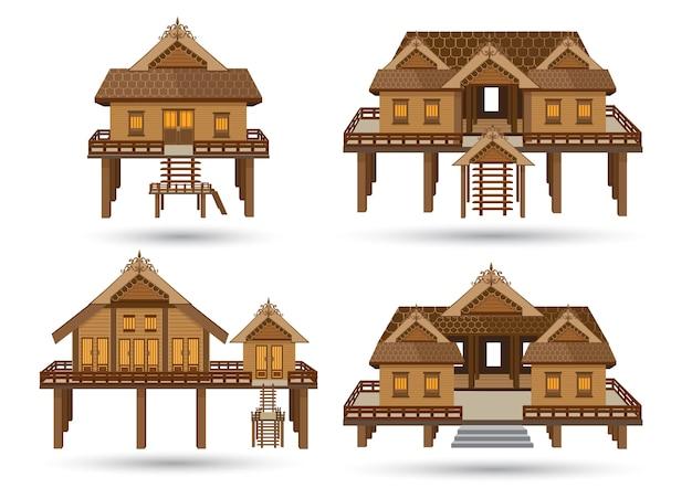 Modèle de maison thaïlandaise faite de vecteur