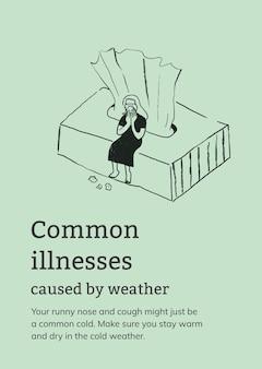 Modèle de maladies courantes causées par une affiche de santé météo