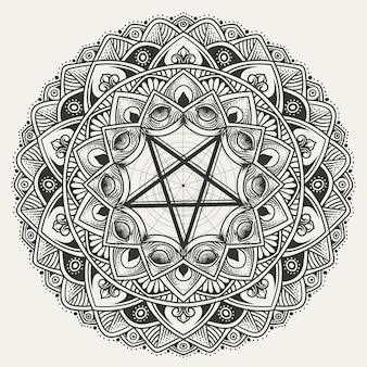 Modèle de mandala de cercle de luxe avec pentagramme
