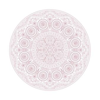 Modèle de mandala délicat dans un style boho sur blanc