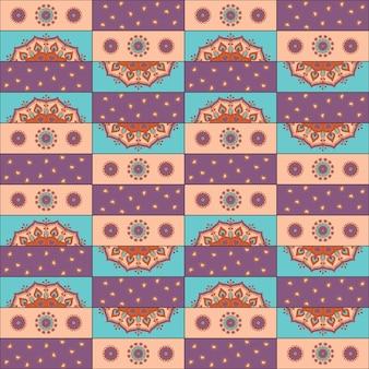 Modèle de mandala dessiné à la main sans couture pour l'impression sur tissu ou pa
