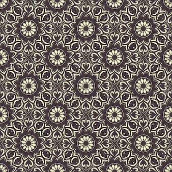 Modèle de mandala dessiné main sans soudure. éléments vintage en orienta