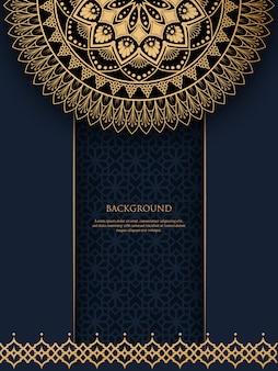 Modèle avec mandala ornement vintage doré et place pour le texte