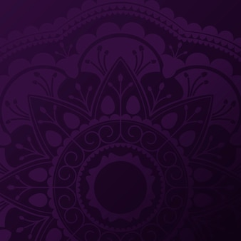 Modèle de mandala violet sur fond noir