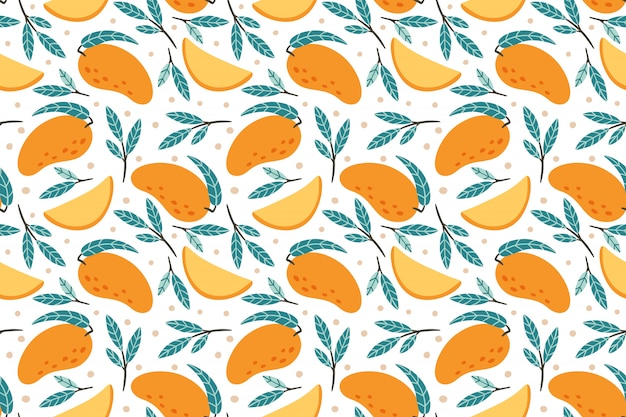 Modèle de mangue sans soudure. dessiné à la main doodle gourmet mangues sucrées fond illustration