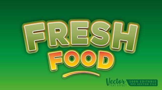 Modèle de maquette d'effet de style de texte modifiable en 3d d'aliments frais
