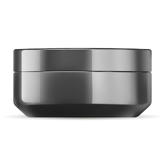 Modèle de maquette de pot de crème cosmétique noir brillant.