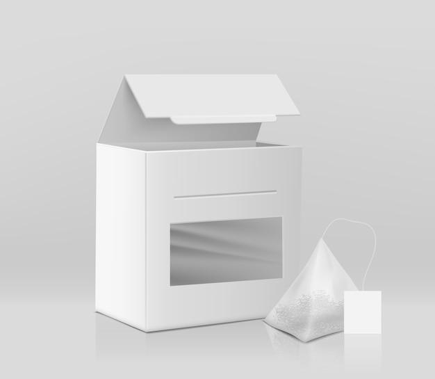 Modèle de maquette de vecteur réaliste d'emballage de thé frais 3d