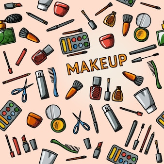 Modèle de maquillage dessiné main couleur - mascara et vernis, poudres, rouges à lèvres, parfum, lotions, peigne, coupe-ongles.