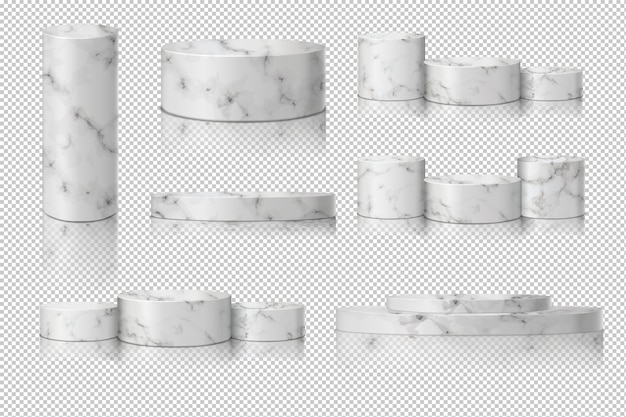 Modèle de marbre de cylindre blanc serti d'ombre. vitrine du concept podium