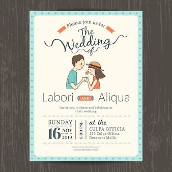 Modèle de mariage de carte d'invitation avec le marié mignon et bande dessinée de mariée