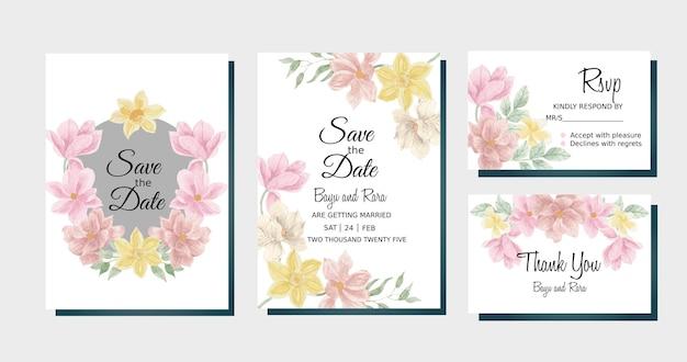 Modèle de mariage de fleur d'aquarelle de magnolia