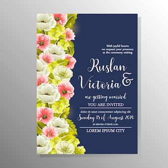 Modèle de mariage avec des fleurs dessinées à la main
