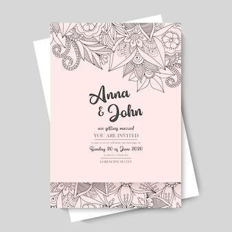 Modèle de mariage floral - bordure de fleur rose