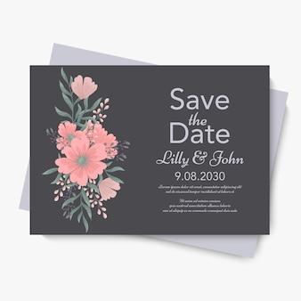 Modèle de mariage floral - carte floral rose