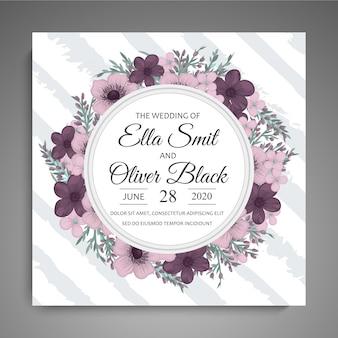 Modèle de mariage floral - carte floral violet