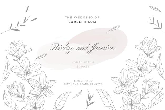 Modèle de mariage floral dessiné à la main