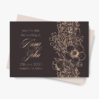 Modèle de mariage floral - fleurs dessinées à la main