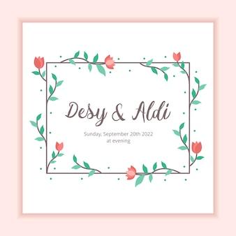 Modèle de mariage de fond cadre floral pour invitation