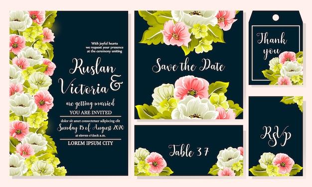 Modèle de mariage qui comprend des invitations, des rsvp, etc.