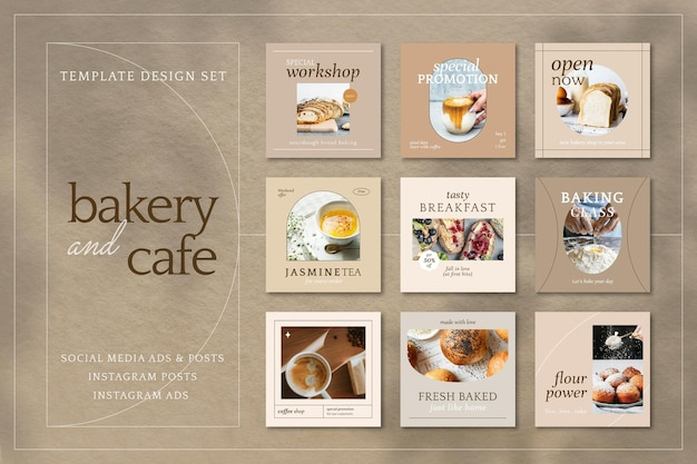 Modèle de marketing de café esthétique vecteur ensemble de publications sur les médias sociaux