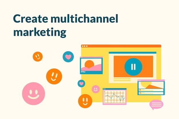 Modèle de marketing à plat pour bannière de médias sociaux