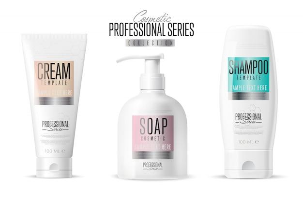 Modèle de marque cosmétique, ensemble de bouteilles réaliste,