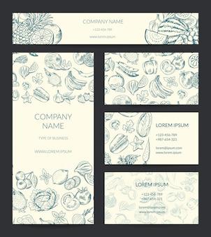 Modèle de marque sertie de fruits et de légumes esquissés doodle.