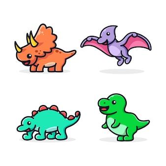 Modèle de mascotte de dessin animé adorable bébé dinosaures