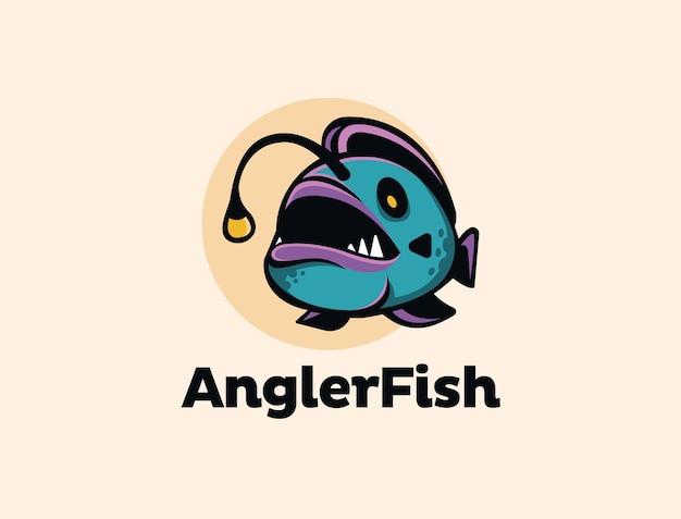 Modèle de mascotte de dessin animé de logo poisson pêcheur coloré