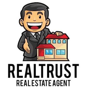 Modèle de mascotte de logo d'agent immobilier