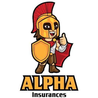 Modèle de mascotte de logo d'assurance guerrier
