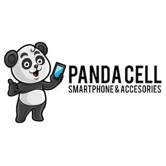 Modèle de mascotte de logo cellulaire panda