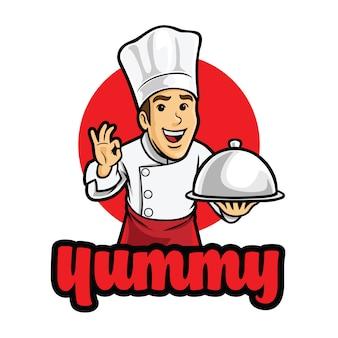 Modèle de mascotte de logo de chef délicieux heureux