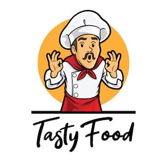 Modèle de mascotte de logo de chef de nourriture savoureuse
