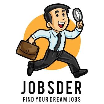Modèle de mascotte de logo de chercheur d'emploi